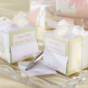 "Take Note - ""New Baby on the Block"" notepad favour"