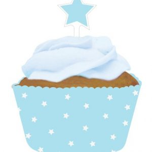 Baby Blue Cupcake Wraps with Toppers