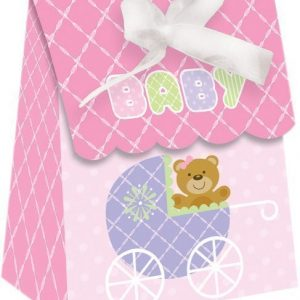 Teddy Bear Pink Favour Bag with Ribbon