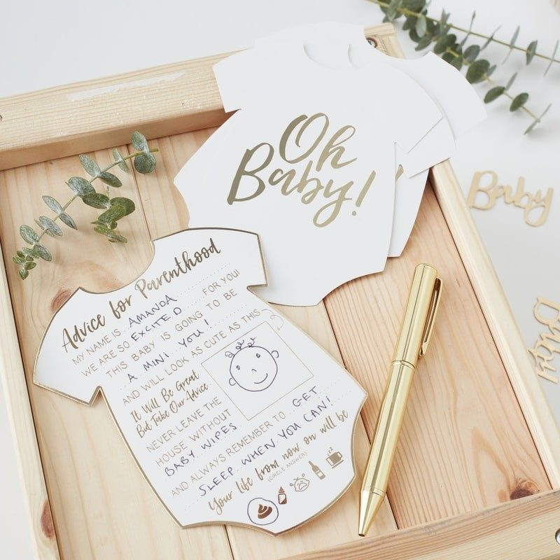 Baby shower rose gold advice cards