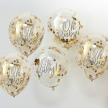Baby Shower gold confetti balloons
