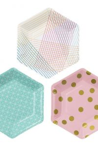 Six Sided Pastel Paper Plates