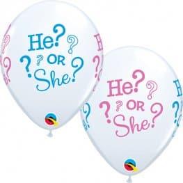 "11"" He? Or She? Latex Balloons 6pk"