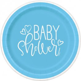 Blue Baby Shower Hearts Paper Plates 8pk