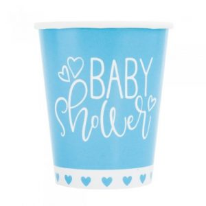 Blue Baby Shower Hearts Paper Cups 8pk