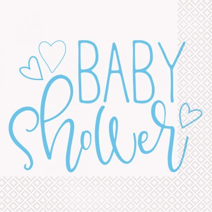 Blue Baby Shower Hearts Lunch Napkins 16pk