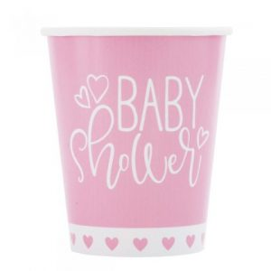 Pink Baby Shower Hearts Paper Cups 8pk
